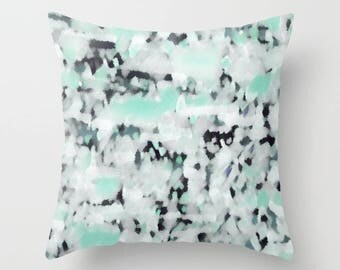 patio decor outdoor pillow navy grey blue mint white abstract art home