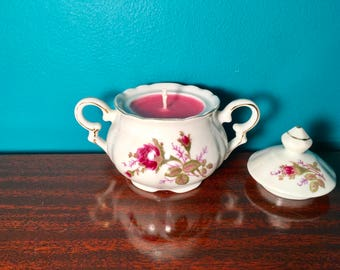 Vintage Rose print Sugar Dish with a  pink Soy Grapefruit Candle scent