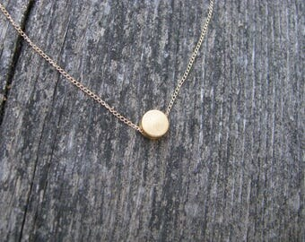 Matte Gold Circle Necklace , Gold-filled Chain, Bridesmaid Jewelry, Gifts for Her
