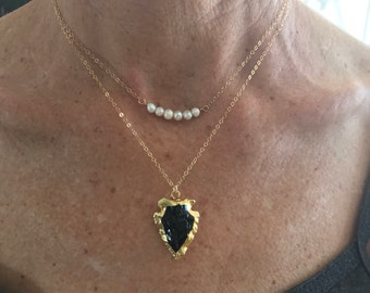 Pearl bar necklaces