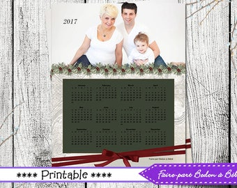 Digital Personalized Christmas calendar - 8x10 - Red and white - Digital printable