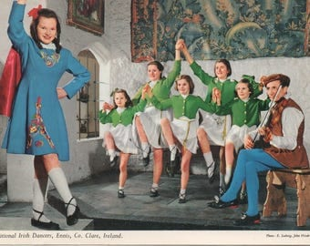 Traditional Irish Dancers, Ennis, Co. Clare, Ireland, Used Postcard 1969, good shape, John Hinde Card