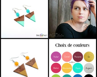 Hand-painted wood Earrings - Brown wood and your CHOICE of COLOR - Wooden jewelry - geometric earrings - Acrylic paint