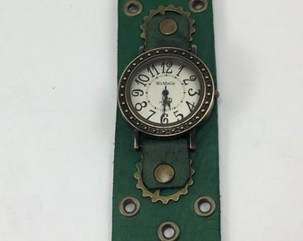Steampunk watch green leather cuff dots circle face