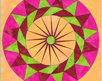 Rhubarb Pie Circle 15 Inch Block Paper Template Quilting Block Pattern PDF