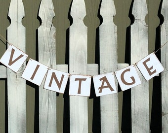 """Vintage White Banner 4"""" x 4"""" Tiles Banner Wall Hanging Vintage Wall Decor"""
