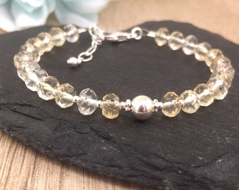 Citrine Bracelet, Birthstone Bracelet, November Birthstone, Sterling Silver, Gemstone Bracelet