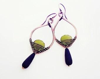 Briolette peridot earrings wire  jewelry handmade copper wire earrings, green copper earrings peridot jewelry wire wrapped jewelry copper