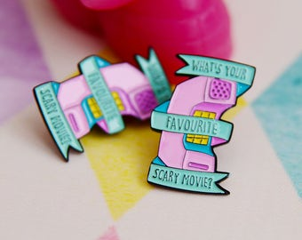 """Not Quite Perfect """"What's Your Favourite Scary Movie"""" Enamel Pins"""