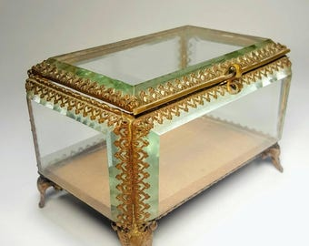 Rectangular, Beveled Glass, Antique Jewelry Casket
