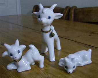 White Kitsch Goat and Two Kids