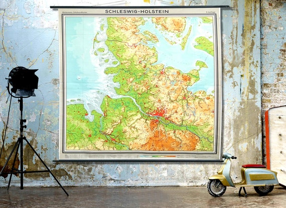Giant Vintage Wall Map. 1960s German Educational School Canvas Chart. 6 ft 8