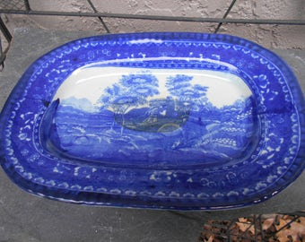Victoria Ware Flow Blue Platter 11 in by 8 in