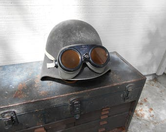 vintage military steel helmet had leather lining and comes with Polaroid tinted lens driving googles