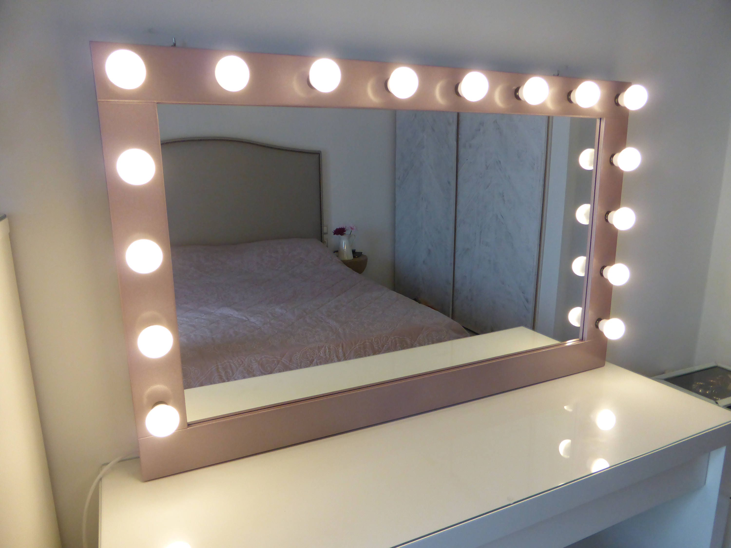 stand up vanity mirror with lights. XL Hollywood mirror  43 x 27 Rose gold vanity Make up Mirror with lights Vanity in many colors