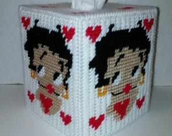 Betty Boop Tissue Box Cover In Plastic Canvas