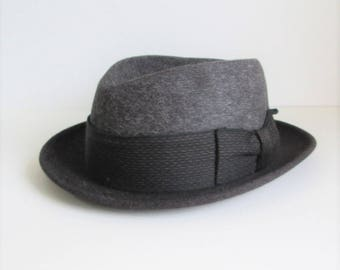 Vtg Dobbs Game Bird Fedora Charcoal grey size 7 3/8