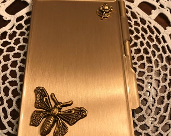 Goldtone Metal Note Pad and Pencil
