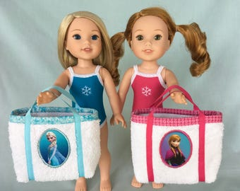Frozen Anna or Elsa Bathing Suit and Beach Bag for Wellie Wisher/14.5 Inch Doll