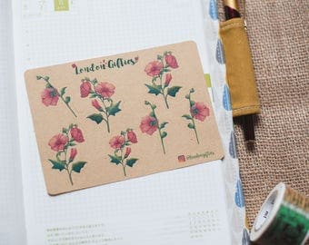Pink flower botanicals - decorative vintage look kraft planner stickers suitable for any planner -425-