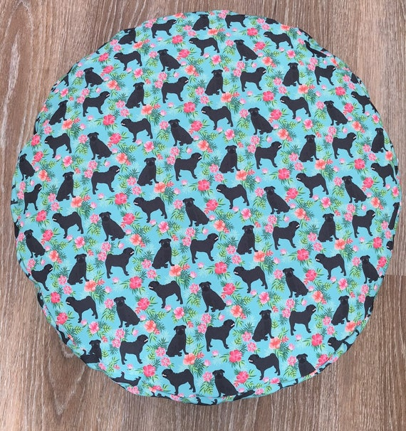 Pug Dog Round Bed with insert  -  Black Pug Hawaiian print - 67CM SMALL