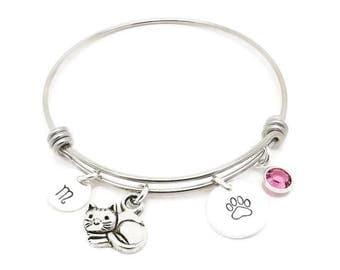 Cat Kitty Initial Birthstone Hand Stamped Bracelet Bangle, Cat Bracelet, Kitten Bangle with Cat Charm and Swarovski Crystal Birthstone