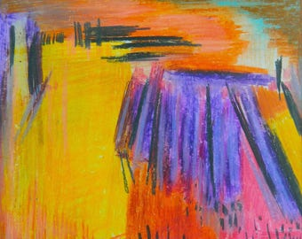 Sunset Horizon / Purple & Orange Abstract / Abstract Landscape / Original / Abstract Expressionism/ Modern Art / Colourful Art / Bright Art