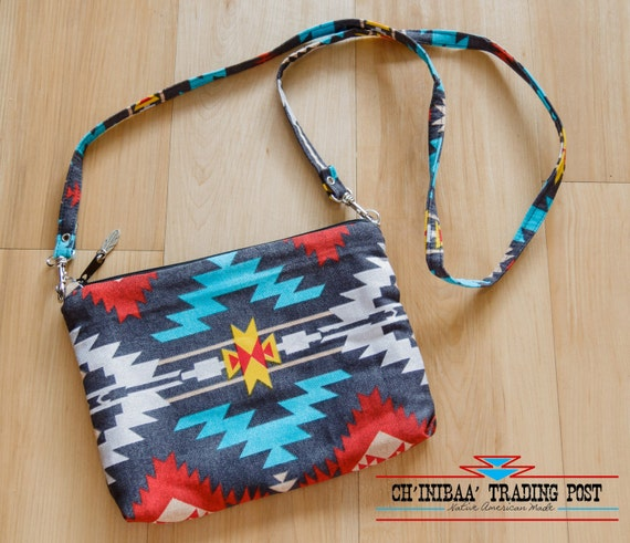 Navajo Cross Body Purse Grey Turquoise and Yellow By SommerNani