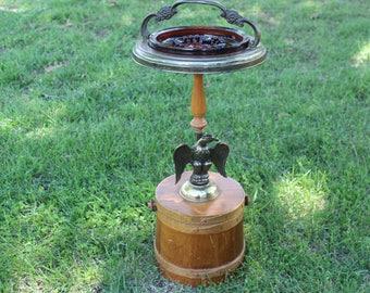 Vintage brass eagle floor ashtray