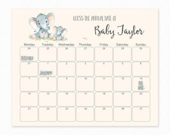 Baby Shower - Guess The Due Date - Baby Shower Games - Baby Shower Birthday Prediction - Printable Baby Shower Due Date Calendar - Elephant