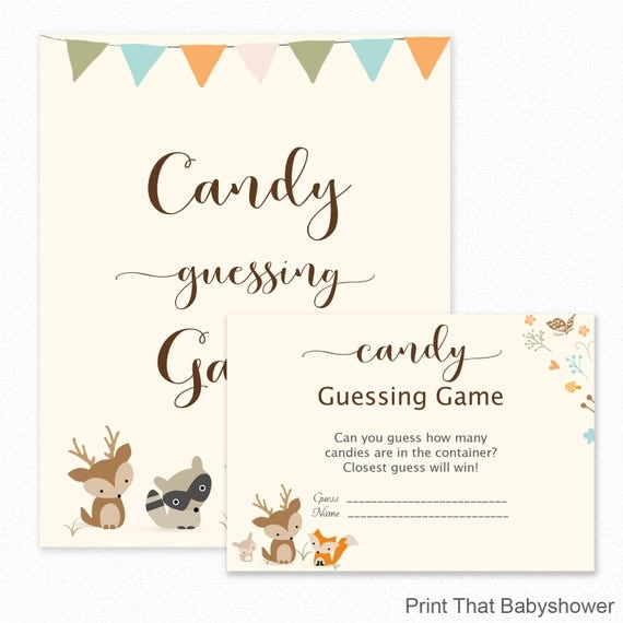 Baby Shower Games   Candy Guessing Game   Woodland Baby Shower   Woodland Shower  Games   Guess How Many Candies   Woodland