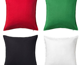 New! BLANK 20x20 IKEA cotton pillow cover - Choose black, white, green, or red - cushion cover - craft supply, Christmas colors, embroidery