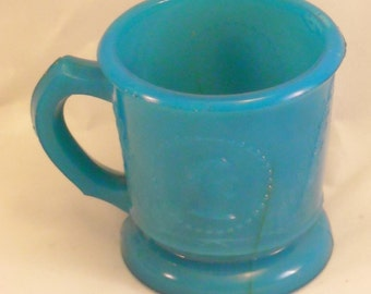 Antique Blue Turquoise Milk Glass Child's Toy Mug. Atterbury Beaded Medallion, Cameo, Ceres, Profile and Sprig, or Goddess of Liberty. okcc