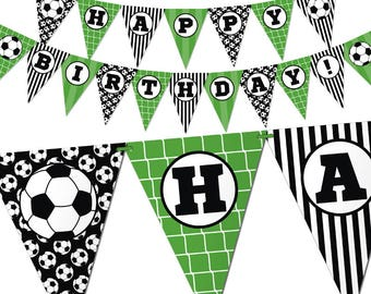 Soccer Birthday Banner - Soccer Theme Bunting Banner - Printable Pennant Garland. Green and Black Sports Birthday Party Decorations. Digital