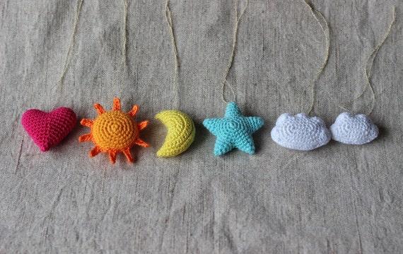 Star, Heart, Sun, Moon, Cloud Crochet Ornament Pattern ...