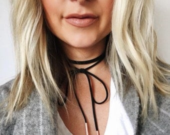 Black Leather Wrap Choker