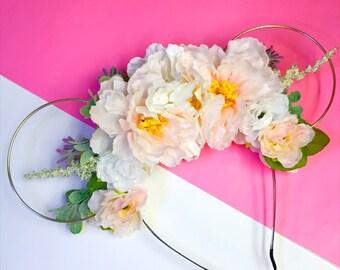 Pastel Princess Flower Crown Minnie Mouse Ears Headband