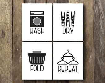 Wash Dry Fold Repeat - Laundry Room Printables