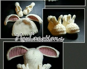 Bunny Hat and Booties Set