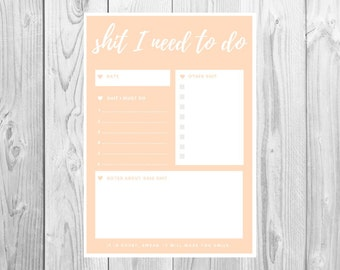 Funny Swear To Do List - S**t I need to do: Shrimp