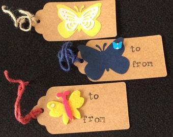 Handmade Paper Gift Tags - Butterfly Assortment!
