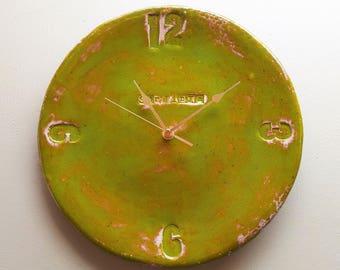 Large round green clock. Ceramic wall art. Handmade contemporary pottery. Kitchen, living room, conservatory, bedroom Wedding, birthday gift