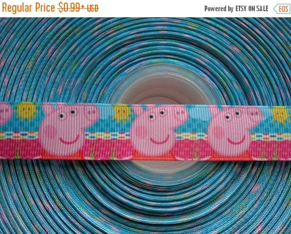 "SUPER SALE PEPPA Pig Inspired 7/8"" 22mm Grosgrain Hair Bow Craft Ribbon 782768"