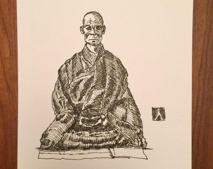 KillerBeeMoto: Original Pen Sketch of a Monk