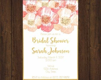 Floral Pink and Gold Bridal Shower Invitations - Printable Option
