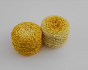 LOVE SOCK, gradient jaune, merino nylon sock yarn, 2*50g