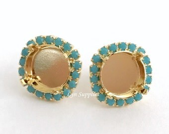 12mm Gold Stud Earrings Base Settings Fits 12mm 1122 Turquoise Halo Rhinestones 1 Pair