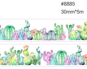 Cactus in Desert Washi Tape -- Masking Washi Tape -Deco tape-- 30mm x5M