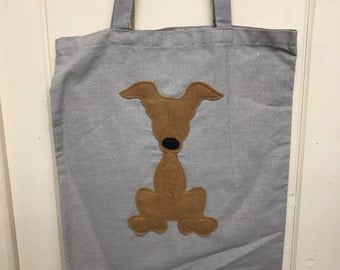 Lurcher dog tote bag