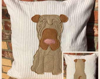 Shar Pei dog - beige and white striped Reversible Cushion with a tail